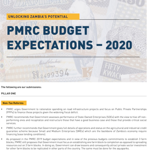 PMRC Budget Expectations – 2020
