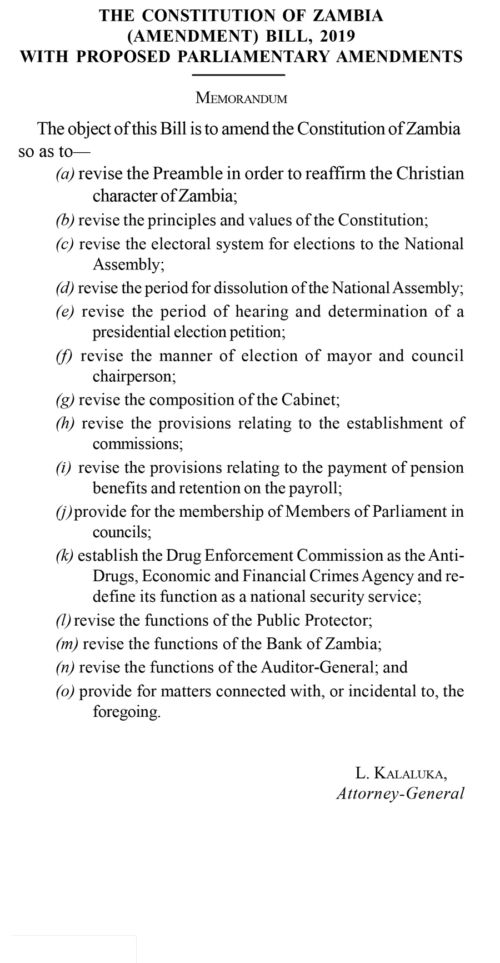 The Constitution of Zambia Bill, 2019