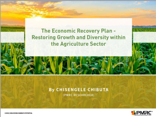 Presentation; The Economic Recovery Plan – Restoring Growth and Diversity within the Agriculture Sector