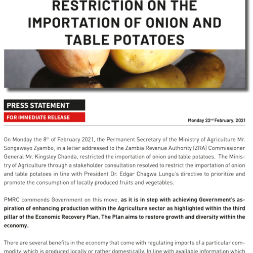 PMRC Press Statement – Restriction on the Importation of Onion and Table Potatoes