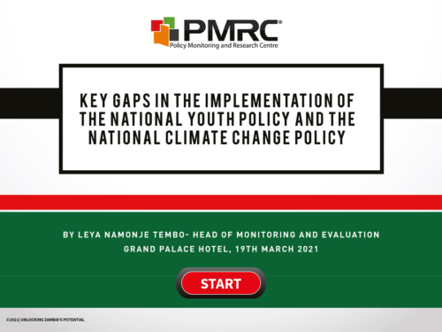 Key Gaps in the implementation of the National Youth Policy and the National Climate Change Policy – Presentation