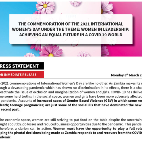 PMRC Press Statement – The Commemoration of the 2021 International Women's Day under the theme: Women in Leadership: Achieving an Equal Future in a COVID-19 World