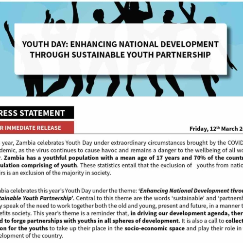 Press Statement:  Youth Day – Enhancing National Development through Sustainable Youth Partnership