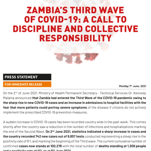 PMRC Press Statement – Zambia's Third Wave of COVID-19: A Call To Discipline and Collective Responsibility