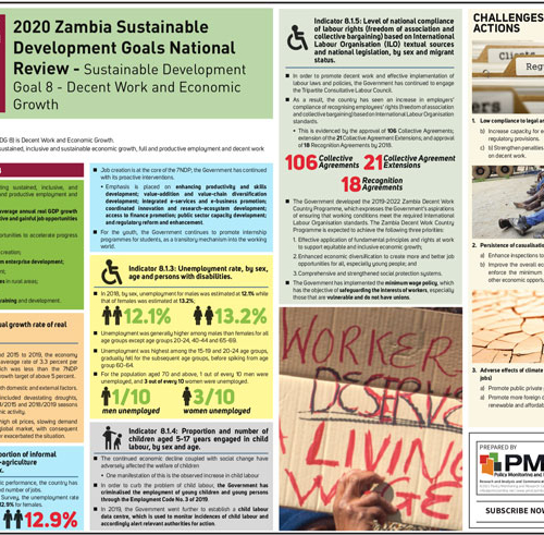 2020 Zambia Sustainable Development Goals National Review Sustainable Development Goal 8-Decent work and economic growth Infographic